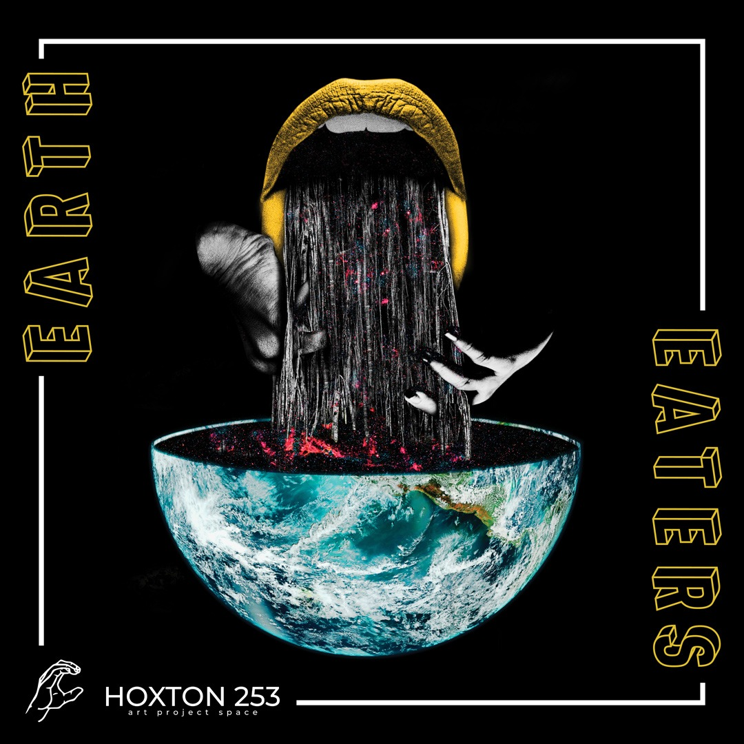 The logo of the exhibition  is black and says Earth Eaters with yellow letters. The images shows golden lips with a black tongue, held by hands. The tongue goes inside a turquoise earth-shaped bowl.
